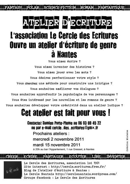 Affiche de l'atelier d'écriture du Cercle nantais (2 et 15 novembre)