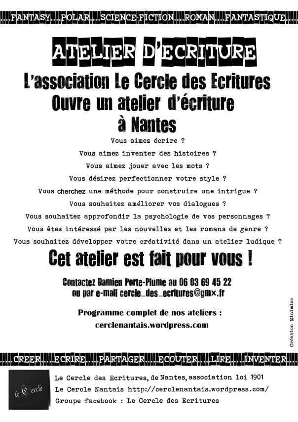 Affiche des ateliers d'écriture du Cercle nantais